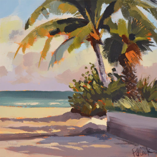 6x6 inch oil on panel, lauderdale beach, palm trees PJ Cook.
