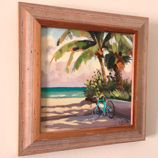 Fort Lauderdale Beach with aqua colored bicycle and palm trees original oil painting.