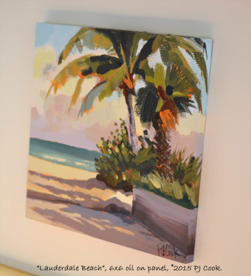 6x6 inch oil on panel, right side view, lauderdale beach, palm trees by PJ Cook.