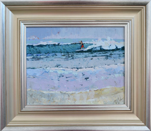 paddle surfing fort lauderdale beach 8x10 oil on panel