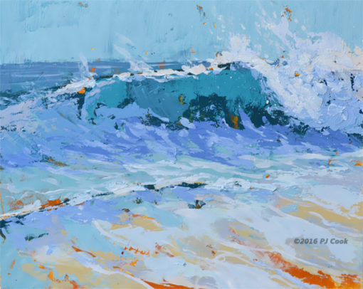 sea colors original oil painting on panel by PJ Cook
