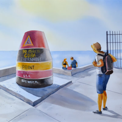 90 miles to Cuba watercolor painting, southernmost point in continental USA.