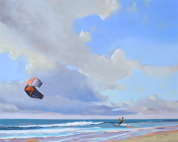 8 x 10 oil on board, kitesurfing, ocean, clouds featured in this original painting by artist PJ Cook.