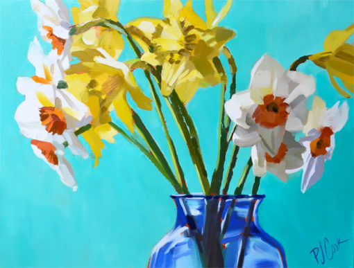 9x12 oil on panel daffodils in blue glass vase PJ Cook