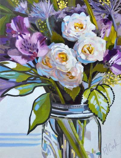 for the roses oil on canvas floral painting by PJ Cook