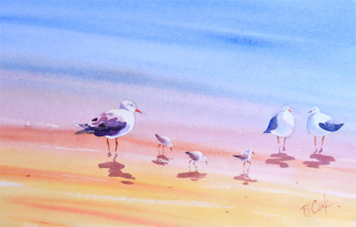 band of beach birds watercolor painting