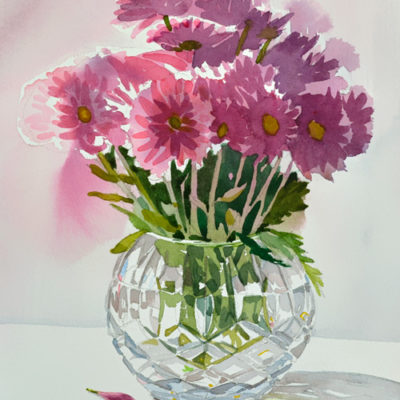 Crystal vase with flowers 10x13 original watercolor.
