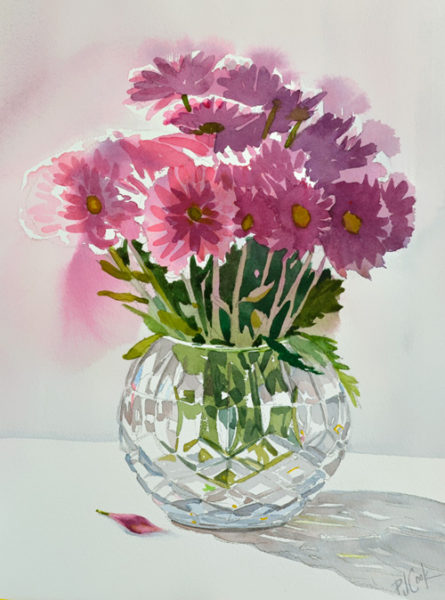 Crystal vase with flowers 10x13 original watercolor.
