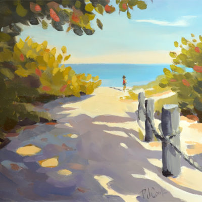 beach path to the ocean, 6x6 oil on panel, ocean, figure, sand and trees.