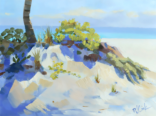 beach sand dune with ocean view oil on panel 9x12, PJ Cook.