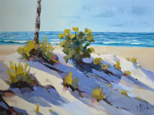 sand dune, ocean waves oil painting on canvas 9x12 original artwork