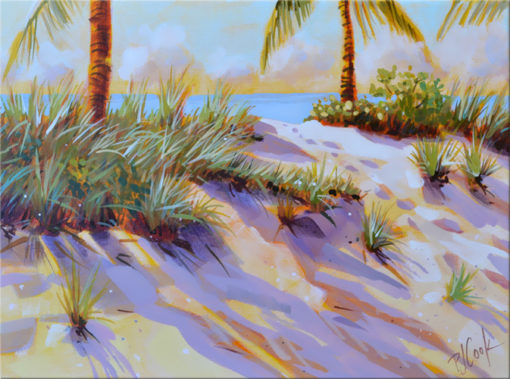 sand dune Ft Lauderdale, FL original painting 9x12 acrylic on canvas by PJ Cook