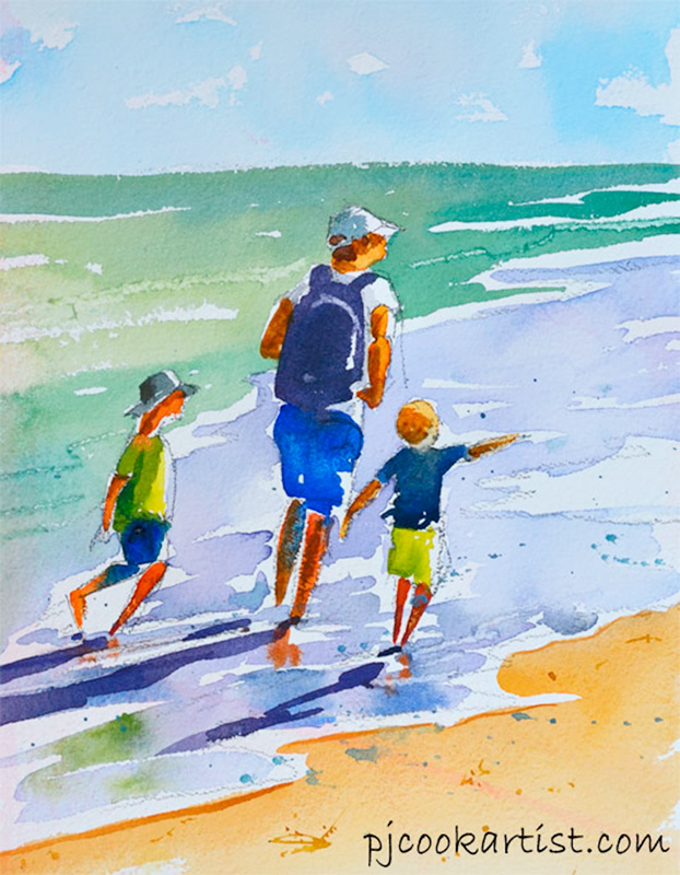 father and sons walking at beach original watercolor by PJ Cook