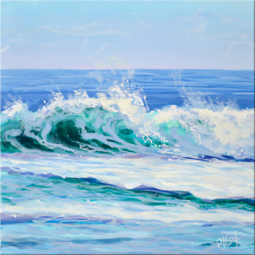 ocean wave painting 6x6 acrylic on panel by PJ Cook