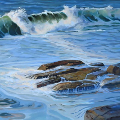 ocean wave oil on canvas 16x20, rocky shoreline.
