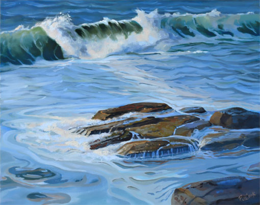 ocean wave oil on canvas 16x20, rocky shoreline.