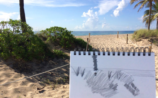 sketching on location at Fort Lauderdale Beach