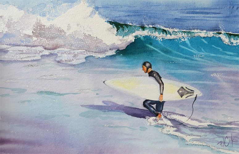 surfer painting, ocean waves surfboard original watercolor painting PJ Cook