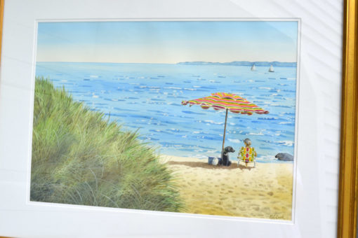 Painting of dog days of summer feature a beach umbrella and dog enjoying beach watercolor