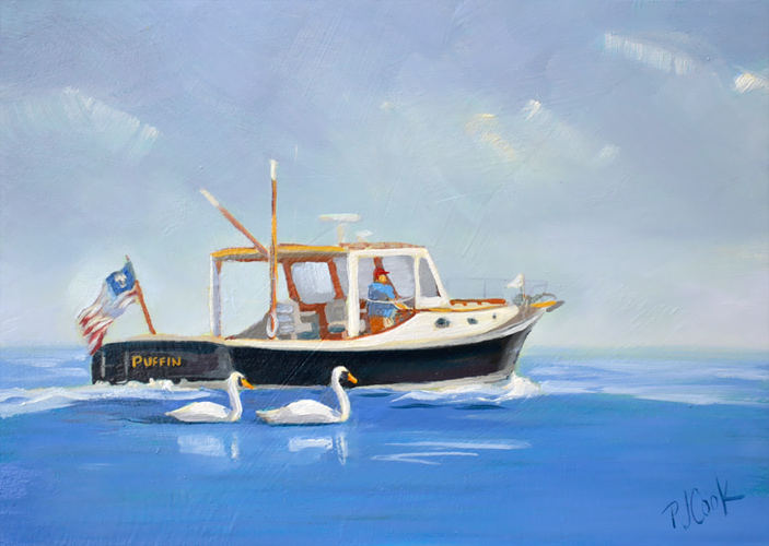 Boat and 2 swans on the water 5x7 oil on panel by PJ Cook.