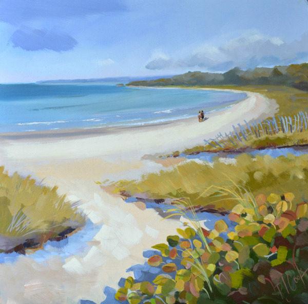 Seaside beach scene oil painting