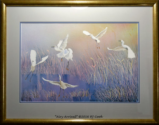 white birds landing in a marsh original watercolor in mat and gold frame by PJ Cook