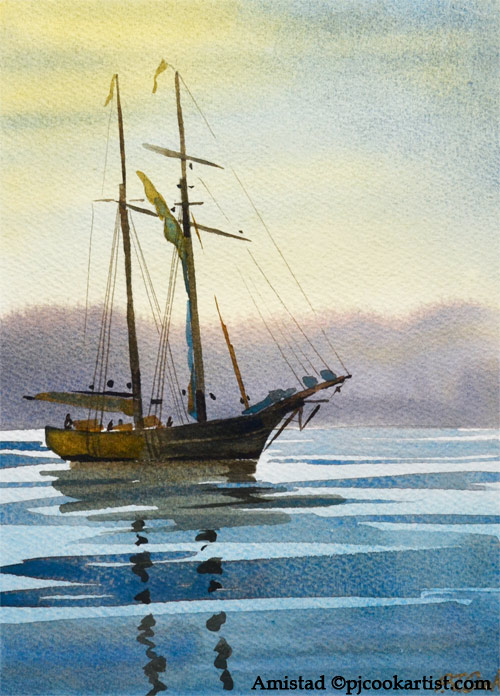 Amistad watercolor 7x10 inch on paper, mat and frame included PJ Cook