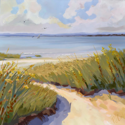 "Dune Escape, 30"" x 30"" oil on canvas of a salt marsh with seagulls by PJ Cook."