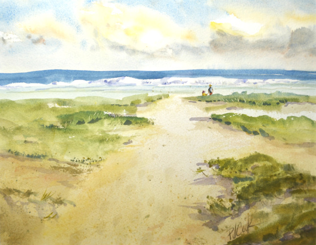 watercolor painting of sandy path to the ocean and beach