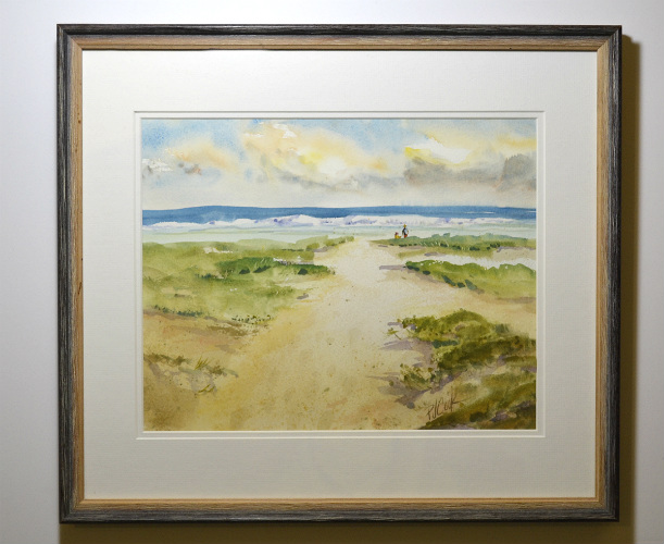 framed watercolor painting of sandy path to the ocean and beach