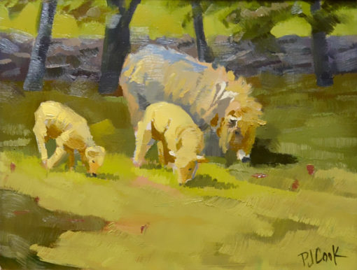 8x10 oil on panel of sheep with her lambs grazing in a field.