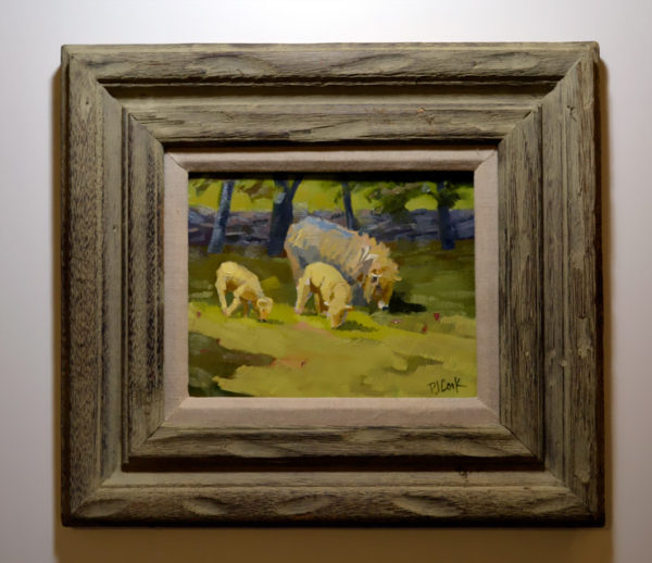 8x10 oil on canvas of sheep and lambs in rustic wood frame.
