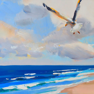 beachscape ocean waves and sandy beach with seagulls 10x30 oil on canvas PJ Cook