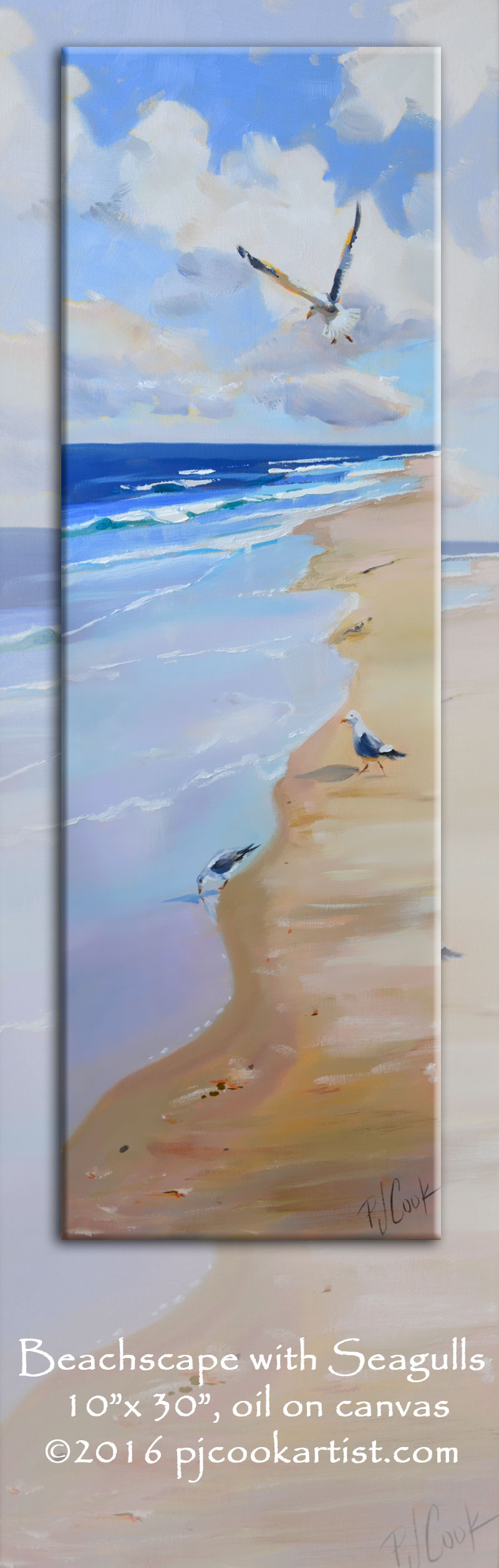 Walk this beach is an Oil on canvas of beachscape with seagulls and ocean waves 10x30 oil on canvas