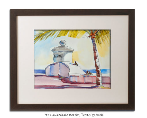 9x11 watercolor of Fort Lauderdale Beach at Terramar entrance with palm tree and birds