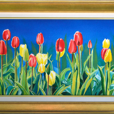 red and yellow tulip garden watercolor painting