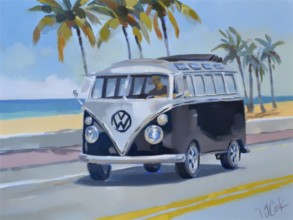 VW van cruising on A1A in Ft Lauderdale, FL 9x12 oil on panel, ©2016 PJ Cook.