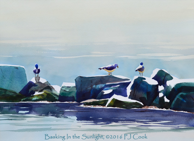 Basking in the sunlight watercolor of seagulls on a rocky breakwater by PJ Cook.