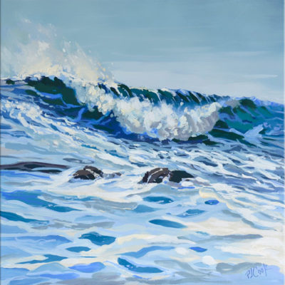 "Blue rolling wave oil painting, 12"" x 12"" ©2019 PJ Cook."