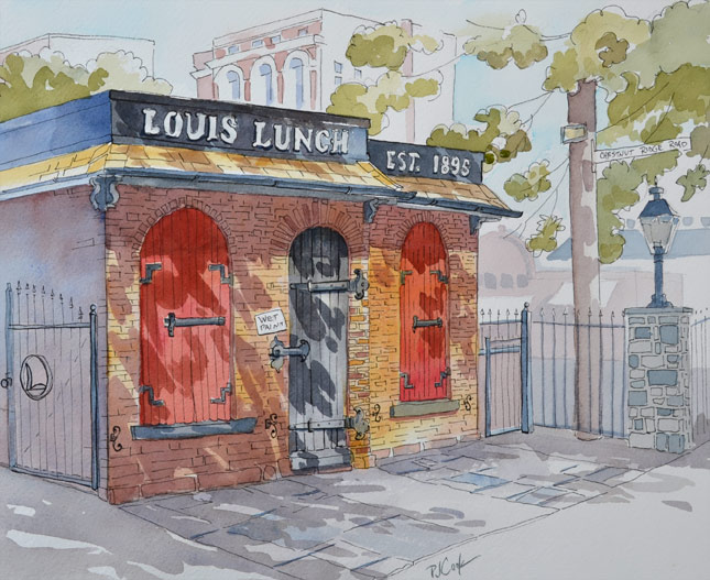 Louis Lunch in New haven, CT pen and ink with watercolor drawing by PJ Cook