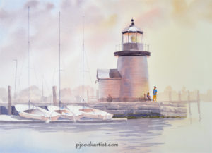Mystic Seaport Lighthouse and small sailboats in an evening glow of light is an original watercolor by PJ Cook.