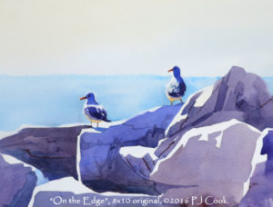 on the edge watercolor of seagulls on breakwater rocks original art by PJ Cook