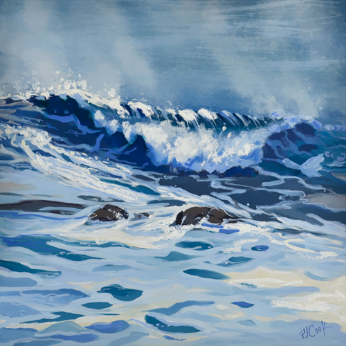 out of the blue ocean wave oil painting, 12x12 oil on panel PJ Cook