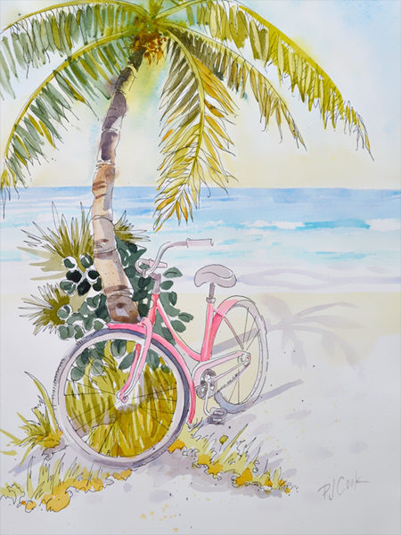 pink-beach-cruiser-watercolor