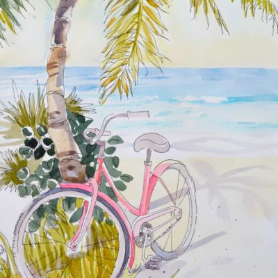 Pink beach cruiser bicycle painting with a white mat and picture frame.