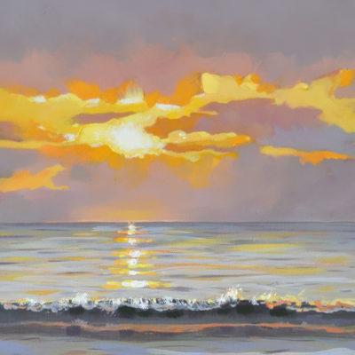 sunrise over the atlantic ocean, 10x30 oil on canvas