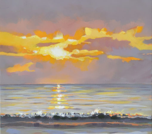 sunrise over the atlantic ocean, 10x30 oil on canvas