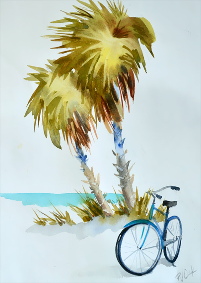 beach oasis with bicycle and palm trees watercolor painting