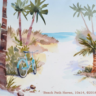 beach path with palm trees and a bicycle original watercolor PJ Cook