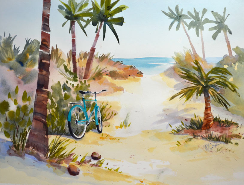 Beach path with bicycle and palm trees watercolor painting.